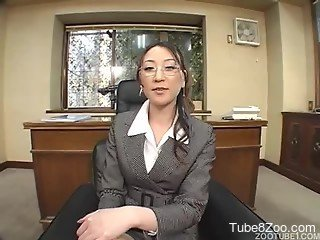 Sexy Japanese secretary and two dog sausages in the office
