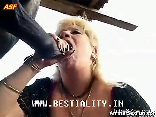 Busty blonde mature is trying to pound with a big stallion