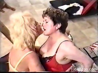 Two busty ladies fuck with a trained dog in 80s bestiality