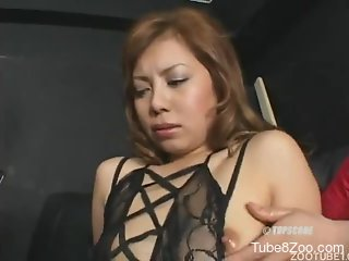 Sexy redhead Latina is sucking a juicy dog stallion dick