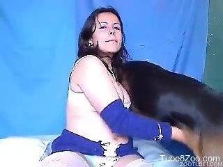 Dog smells and fucks a tight pussy of a sexy cam whore