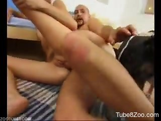 Two sexy chicks and big trained dog in awesome zoofilic sex