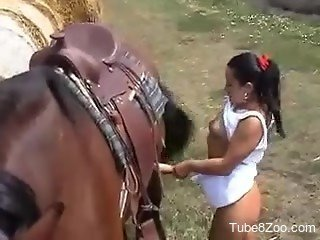 Chubby brunette with natural tits sucks a loaded dick of a horse