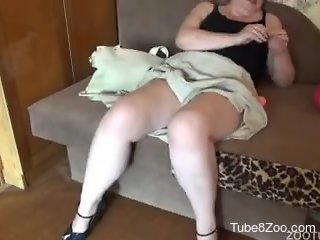 Awesome amateur dog fuck with a big-bottomed female and her pet