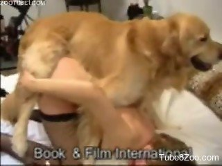 Love with black stockings on legs penetrated by own dog