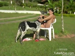 Outdoor scenes starring nude woman fucking with the dog