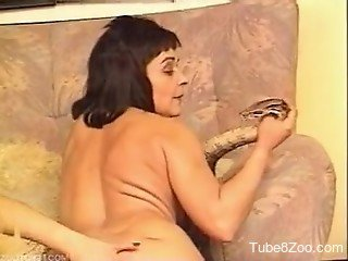 Two sweet ladies zoophiles are banging with a real wild python