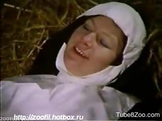 Retro bestiality video featuring two naughty nuns