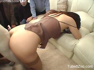 Japanese angel gets fucked and creampied by a dog