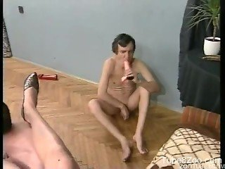 Hardcore bisexual orgy with a very thirsty dog