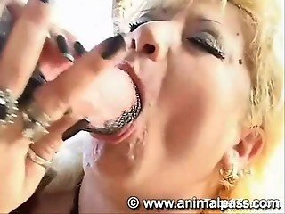 Passionate blowjobs in a bestiality compilation vid