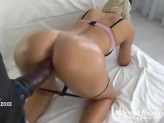 Curvy ass blonde doll fucked with a giant horse dick