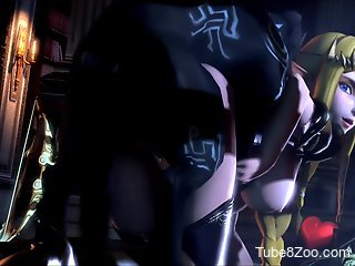 Big-breasted blonde hentai girl gets fucked on all fours