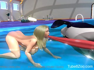 Killer whale fucking a blonde in a 3D bestiality scene