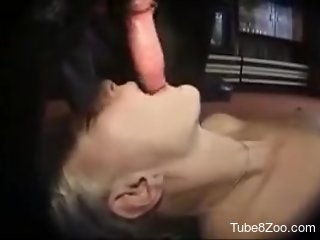 Blond-haired babe fucked orally in a hot porno movie