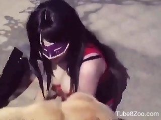Horny brunette throats dog's penis on live cam